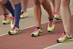Falmouth Road Race: The Cochary High School Mile, Girls, track spikes detail