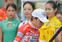 September 20, 2017 - Changde City, China - Kevin Rivera Serrano from Androni-Sidermec-Bottecchia team arrives for the Awards Ceremony after the second stage of the 2017 Tour of China 2, the 97.6km Changde Lixiang Circuit Race. .On Wednesday, 20 September 2017, in Lixian County, Changde City, Hunan Province, China. (Credit Image: © Artur Widak/NurPhoto via ZUMA Press)