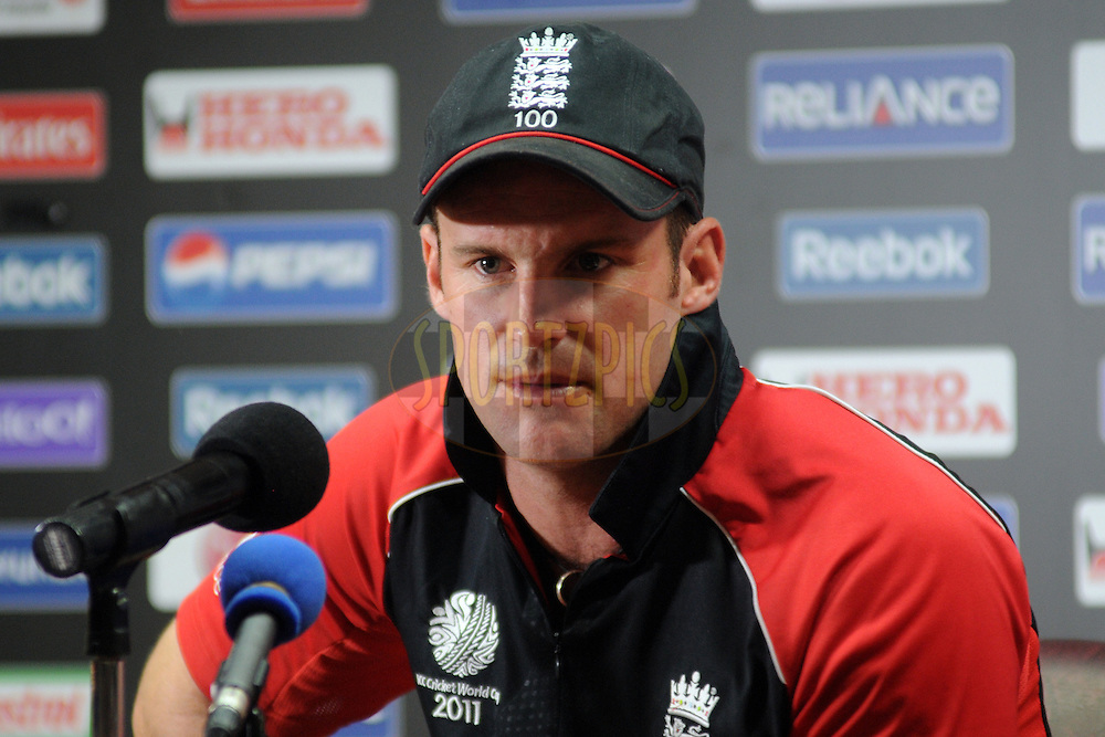 Andrew Strauss captain of England address a press conference after the ICC Cricket World Cup match between India and England held at the M Chinnaswamy Stadium in Bengaluru, Bangalore, Karnataka, India on the 27th February 2011..Photo by Pal Pillai/BCCI/SPORTZPICS