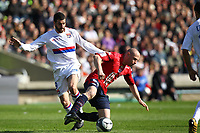 FOOTBALL - FRENCH CHAMPIONSHIP 2009/2010 - L1 - OLYMPIQUE LYONNAIS v LILLE OSC - 11/04/2010 - PHOTO ERIC BRETAGNON / DPPI -  LISANDRO LOPEZ (LYON) / FLORENT BALMONT