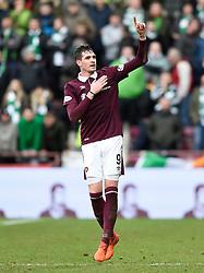 Hearts Kyle Lafferty celebrates scoring his side's second goal of the game during the Ladbrokes Scottish Premiership match at Tynecastle Stadium, Edinburgh.
