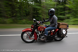 Land-speed record holder Jody Perewitz rode a 1926 Harley-Davidson JD she painted herself (no retro paint job here) on the Motorcycle Cannonball coast to coast vintage run. Stage-1 (145-miles) from Portland, Maine to Keene, NH. Saturday September 8, 2018. Photography ©2018 Michael Lichter.