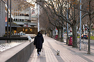 A woman walks her two dogs past the National Gallery of Victoria during COVID-19 in Melbourne, Australia. Hotel quarantine linked to 99% of Victoria's COVID-19 cases, inquiry told. This comes amid a further 222 new cases being discovered along with 17 deaths. Melbourne continues to reel under Stage 4 restrictions with speculation that it will be extended. (Photo by Dave Hewison/Speed Media)