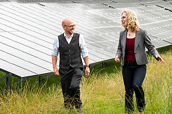 Pictured: Lorna Slater and Patrick Harvie ahead of the party vote on ministerial positions<br /><br />Scottish Greens co-leaders Patrick Harvie and Lorna Slater as they visit the site of a new solar farm at the University of Edinburgh Easter Bush Campus to discuss how the proposed co-operation agreement between the party and the Scottish Government will allow Greens to champion a bold response to climate crisis.<br /><br /><br />Ger Harley   EEm 27 August 2021