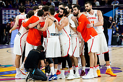 Players of Spain celebrate after winning during basketball match between National Teams of Spain and Turkey at Day 11 in Round of 16 of the FIBA EuroBasket 2017 at Sinan Erdem Dome in Istanbul, Turkey on September 10, 2017. Photo by Vid Ponikvar / Sportida