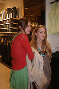 Anouskha Beckwith and Mary Charteris. H&M Flagship Store launch. at 17-21 Brompton Road, Knightsbridge. London. SW1. 23  March 2005. ONE TIME USE ONLY - DO NOT ARCHIVE  © Copyright Photograph by Dafydd Jones 66 Stockwell Park Rd. London SW9 0DA Tel 020 7733 0108 www.dafjones.com