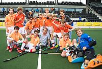 AMSTELVEEN  - finale Jongens Jong .  Kennemer Lyceum-Stedelijk Gymnasium Leiden.  Kennemer  wint de titel. .  NK Schoolhockey.    COPYRIGHT  KOEN SUYK