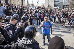 May 5, 2018 - Moscow, Moscow, Russia - Man talks with riot police during a demonstration against Putin in Moscow. (Credit Image: © Celestino Arce via ZUMA Wire)