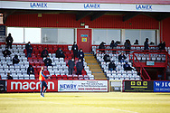 Ground shot of most of the socially distanced press and other members watching the match during the EFL Sky Bet League 2 match between Stevenage and Bradford City at the Lamex Stadium, Stevenage, England on 5 April 2021.