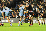 Glasgow's Rob Harley has his hands full during the 1872 Challenge Cup, Guinness Pro 14 2018_19 match between Edinburgh Rugby and Glasgow Warriors at BT Murrayfield Stadium, Edinburgh, Scotland on 22 December 2018.
