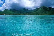 lagoon and mountains, north coast, <br /> Moorea, Society Islands, French Polynesia, <br /> ( South Pacific Ocean )