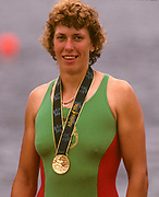 Atlanta, USA.  Gold medalist BLR W1XEkaterina KARSTEN - KHODOTOVITCH. 1996 Olympic Rowing Regatta Lake Lanier, Georgia [Mandatory Credit Peter Spurrier/ Intersport Images]