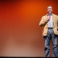 """010414       Cable Hoover<br /> <br /> Filmmaker David DeJonge introduces his film """"Pershing's Last Patriot"""" to the audience during the WWI film festival at El Morro Theater Saturday."""