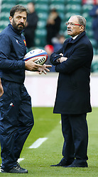 February 10, 2019 - London, England, United Kingdom - L-R Jean-Baptiste Elissalde Backs Coach and Jacques Brunel Head Coach of France during the Guiness 6 Nations Rugby match between England and France at Twickenham  Stadium on February 10th, 2019 in Twickenham, London,  England. (Credit Image: © Action Foto Sport/NurPhoto via ZUMA Press)