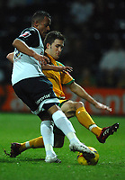 Photo: Paul Greenwood.<br />Preston North End v Norwich City. Coca Cola Championship. 20/02/2007. Norwich's Jason Shackley, right, takes on Simon Whalley
