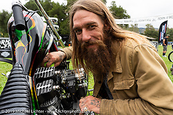 BF11 invited builder Martin Mclaughlin of Expensive Trash with his custom 1977 Harley-Davidson Shovelhead chopper at the Born Free Motorcycle Show (BF11) at Oak Canyon Ranch, Silverado  CA, USA. Saturday, June 22, 2019. Photography ©2019 Michael Lichter.
