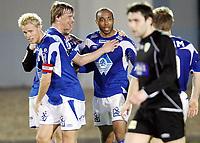 Fotball , 28. mars 2008 , Privatkamp La Manga ,  Hødd - Løv-Ham 1-1<br /> jubel av Hødd etter scoring av Kyle Veris , til venstre Fredrik Klock og Rogvi Jacobsen