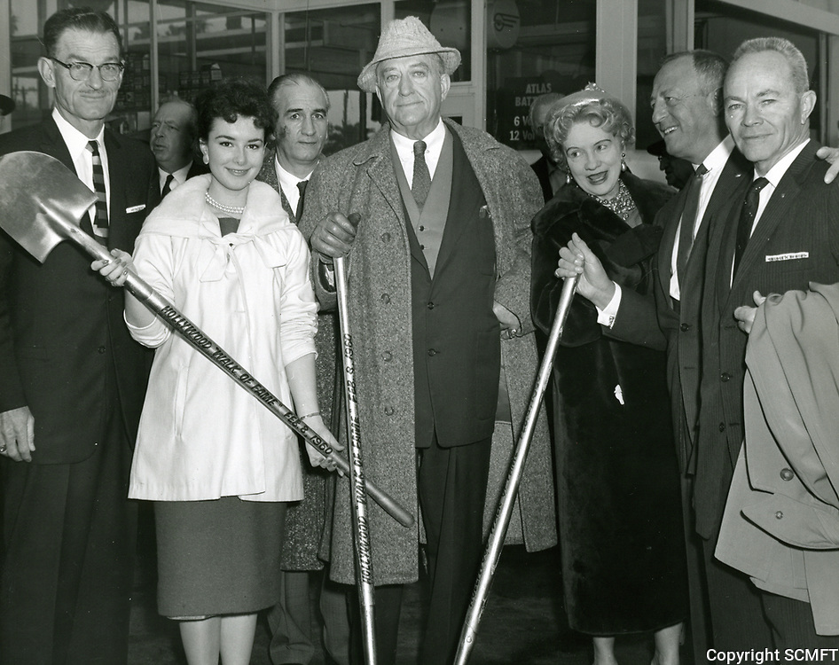 1960 Official groundbreaking for the Hollywood Walk of Fame including (L to R) Lyle Pardee, Gigi Perreau, Francis Bushman, Harry Sugarman and John Kingsley