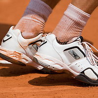 06 June 2007: Details of Russian player Igor Andreev sneakers during the French Tennis Open quarter final match won 6-3, 6-3, 6-3,  by  Novak Djokovic over Igor Andreev on day 10 at Roland Garros, in Paris, France.