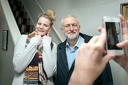 Labour leader Jeremy Corbyn has his photograph taken with Camilla Whitworth while on the campaign trail in Grimsby ahead of the local elections.