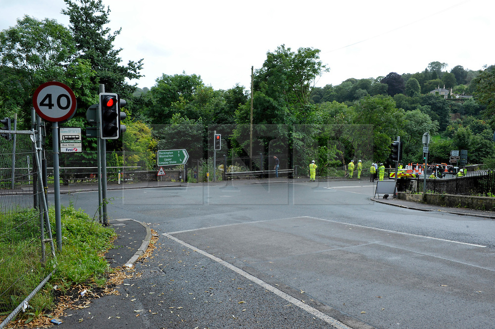 © Licensed to London News Pictures. 15/08/2012. Bath, UK. Looking down Brass Knocker Hill to the edge where a coach carrying an American band called Baroness crashed off the road and down a slope at Brass Knocker Hill on the A36 near Bath. The band had played in Bristol last night and were en route to Southampton.  They have now announced they have cancelled the last gig of their tour.  15 August 2012..Photo credit: Simon Chapman/LNP