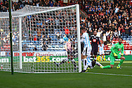 Harry Bunn of Huddersfield town pops up at the back post and scores his teams 1st goal. Skybet football league Championship match, Huddersfield Town v Derby county at the John Smith's Stadium in Huddersfield , Yorkshire on Saturday 24th October 2015.<br /> pic by Chris Stading, Andrew Orchard sports photography.
