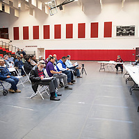 Members of the Navajo Nation Council listen to Edith Hood of Red Water Pond speak during a public hearing on the impacts of uranium Friday, March 6 at Navajo Technical University in Crownpoint. There are two upcoming uranium public hearings, March 13 in Chinle and March 14 in Tuba City.