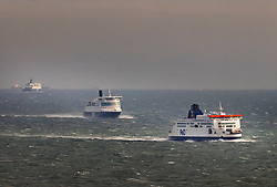 © Licensed to London News Pictures. 18/12/2020. Dover, UK. Ferries head for the Port of Dover. Retailers are suggesting that delays at some ports are causing shortages of goods in the shops this Christmas. Photo credit: Peter Macdiarmid/LNP