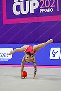 Ashram Linoy during the qualification of the Pesaro World Championships at Vitrifrigo Arena on 28/29 May 2021. Linoy is an Isrlaelian rhythmic gymnastics athlete born on May 13,1999 in Tel Aviv.