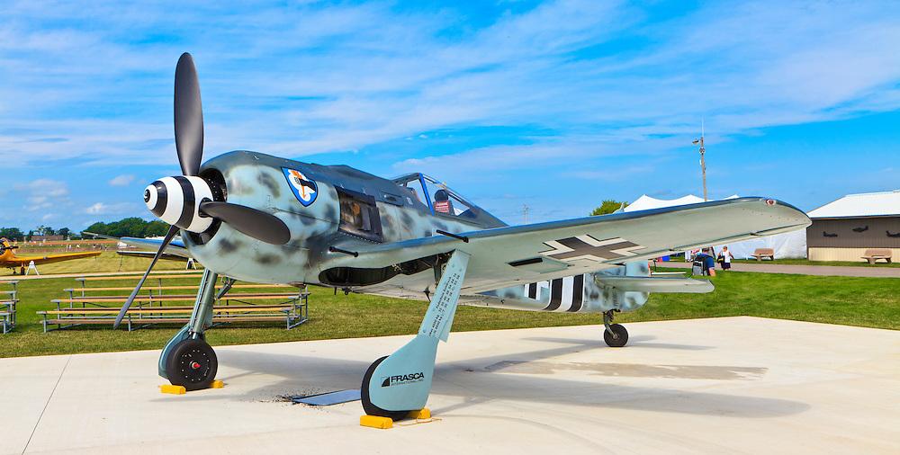 A replica Focke-Wulf 190 on display in the warbird area at AirVenture 2011 in Oshkosh, Wisconsin.