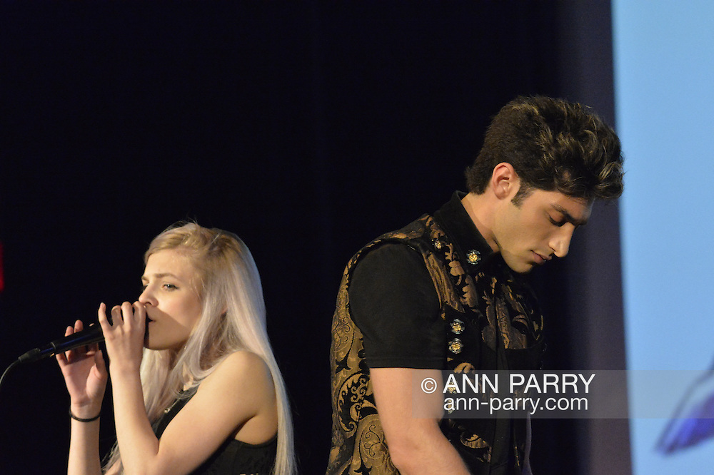 """Bellmore, New York, USA. July 21, 2016.  Singers ROBBIE ROSEN, of American Idol top 8 Boys from Merrick, and SARAH BARRIOS perform the duet """"Chains"""" at the19th Annual Long Island International Film Expo Awards Ceremony, LIIFE 2016, held at the historic Bellmore Movies. LIIFE was called one of the 25 Coolest Film Festivals in the World by MovieMaker Magazine."""