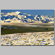 Alaska. Arctic National Wildlife Refuge. ANWR. Mt Chamberlin and Romanzof Mountains in August snow