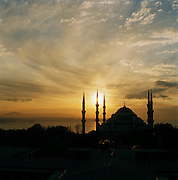 Sultan Ahmed Mosque, the famous Blue Mosque, built on a hilltop overlooking the Bosphorous and the rest of the city, in Istanbul, Turkey