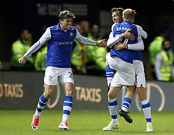 Sheffield Wednesday's David Jones (second right) celebrates scoring his side's first goal of the game during the Sky Bet Championship match at Hillsborough, Sheffield.
