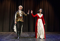 """Lindsey Bristol as the """"Prince"""" and Kelley Davies as """"Snow White"""" at the Winnipesaukee Playhouse during dress rehearsal on Tuesday afternoon.  (Karen Bobotas/for the Laconia Daily Sun)"""