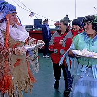 "ARCTIC OCEAN.  King Neptune party aboard Russian icebreaker ""Yamal"", en route to North Pole."