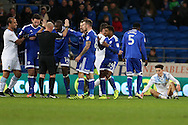 Cardiff city players appeal to referee Andy Davies after Jack Grealish of Aston Villa ® goes down to win a free-kick. EFL Skybet championship match, Cardiff city v Aston Villa at the Cardiff City Stadium in Cardiff, South Wales on Monday 2nd January 2017.<br /> pic by Andrew Orchard, Andrew Orchard sports photography.