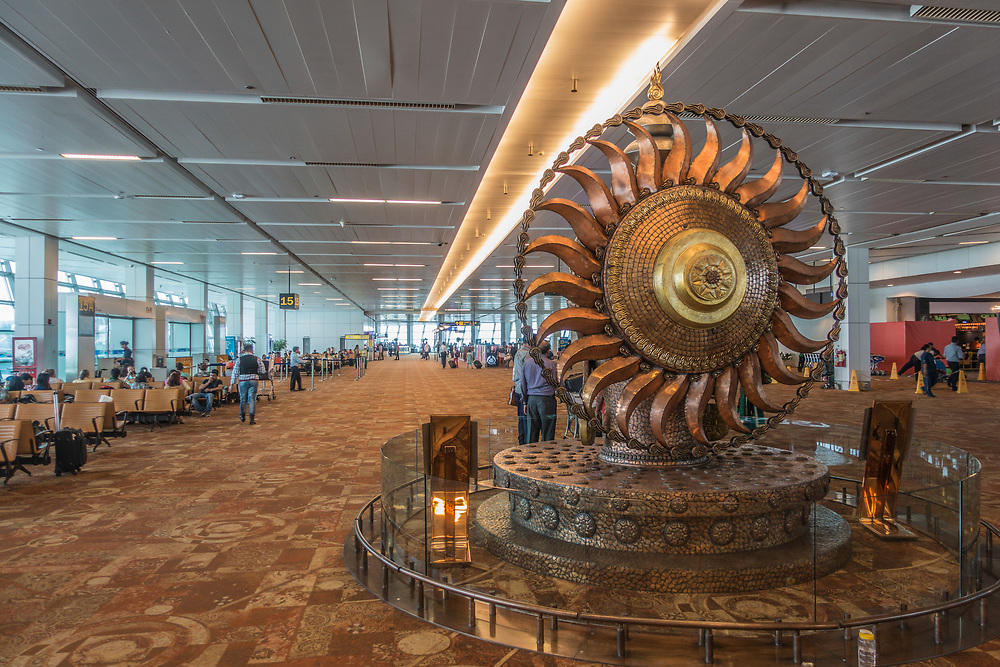 Satish Gupta, 'Surya-The Resplendent One', at Indira Gandhi International Airport,in New Delhi, India. Gupta's sculpture takes inspiration from India's rich past, especially the magnificent 11th century Chola bronzes of South India.
