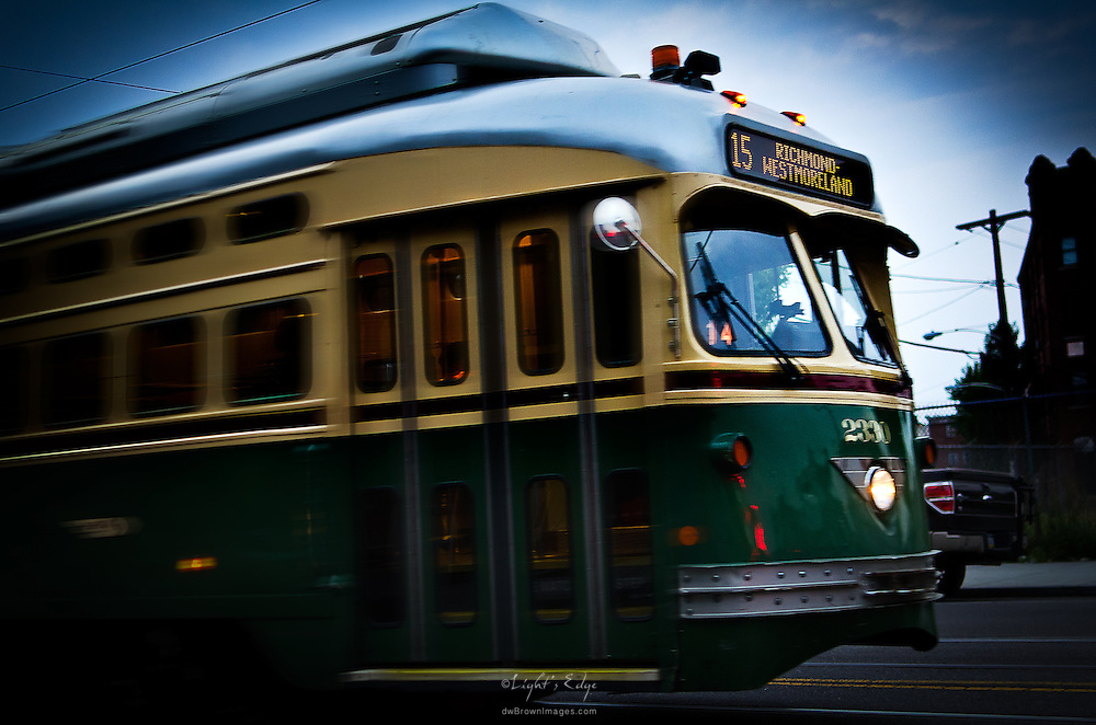 A trolley car cruises by on Girard Ave. in the Northern Liberties section of  Philadelphia, PA