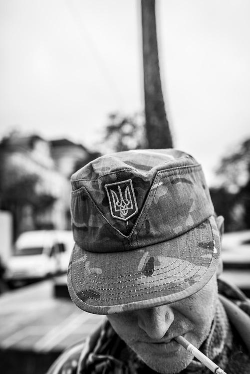 A Ukrainian military veteran in Lviv, Ukraine.<br /><br />(October 14, 2015)
