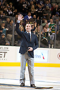 Former Dallas Star goalie Marty Turco is recognized before the start of the Dallas vs Vancouver Canucks game Thursday, February 21, 2013 at the American Airlines Center in Dallas, Texas. (Cooper Neill/The Dallas Morning News)