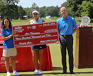 26JUL15 Lexi Thompson with the big check on the 18th green at the conclusion of Sunday's Final Round of The Meijer LPGA Classic at The Blythefield Country Club in Belmont, Michigan. (photo credit : kenneth e. dennis/kendennisphoto.com)