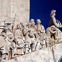 Europe, Portugal, Lisbon. The Discoveries Monument, commemorating Portuguese discoverers and explorers, in Belem.