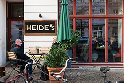 Exterior view of Heide's cafe restaurant on Rykestrasse in Prenzlauer Berg in Berlin, Germany