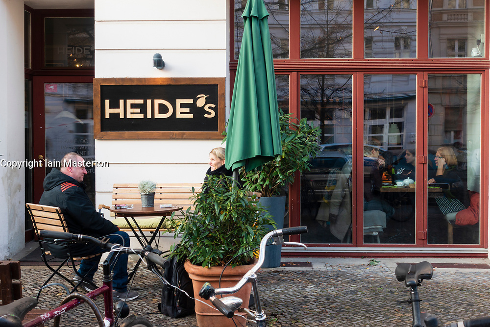Exterior view of Heide's cafe restaurant on Rykestrasse in Prenzlauer Berg in Berlin, Germany
