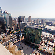 Views of downtown Kansas City, MO from exterior of Power and Light Building.