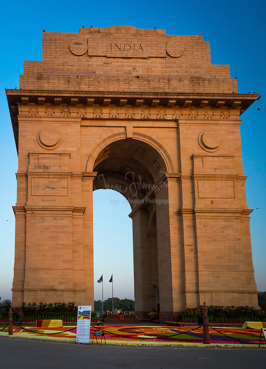 """The India Gate is the national monument of India. Situated in the heart of New Delhi, it was designed by Sir Edwin Lutyens.<br /> It commemorates the 70,000 Indian soldiers who lost their lives fighting for the British Army during the World War I. The memorial bears the names of more than 13,516 British and Indian soldiers killed in the Northwestern Frontier in the Afghan war of 1919.<br /> The foundation stone of India Gate was laid by His Royal Highness, the Duke of Connaught in 1921. The monument was dedicated to the nation 10 years later by the then Viceroy, Lord Irwin.<br /> Originally, a statue of George V, Emperor of India stood under the now vacant canopy in front of the India Gate, but it was removed to Coronation Park together with a number of other British Raj-era statues. Following India's independence, the India Gate became the site of the Indian Armed Forces's Tomb of the Unknown Soldier, known as Amar Jawan Jyoti (""""the flame of the immortal soldier"""")."""