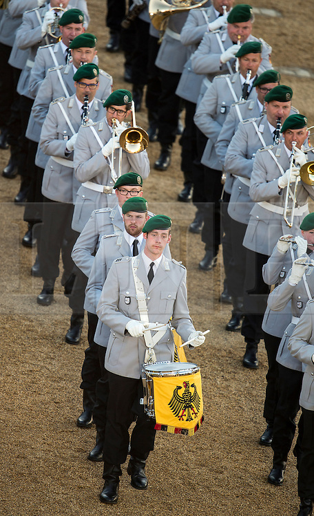 © London News Pictures. 10/06/2015. London, UK. Concert Band of the German Army.  Waterloo 200 themed open air Beating Retreat, performed on Horseguards Parade in London. Photo credit: Sergeant Rupert Frere/LNP