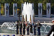 Servicemen at the National World War II Memorial, Washington DC, United States of America