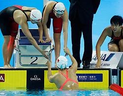 HANGZHOU, Dec. 15, 2018 From L to R) Zhang Yuhan, Li Bingjie, Wang Jianjiahe and Yang Junxuan of Team China celebrate after Women's 4x200m Freestyle Relay Final at 14th FINA World Swimming Championships (25m) in Hangzhou, east China's Zhejiang Province, on Dec. 15, 2018. Team China claimed the title with 7:34.08. (Credit Image: © Xinhua via ZUMA Wire)
